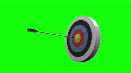 nyíl : Arrow flying towards dart board and hitting target on blue background Stock mozgókép