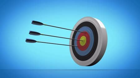 цель : Arrow flying towards dart board and hitting target on white background Стоковые видеозаписи