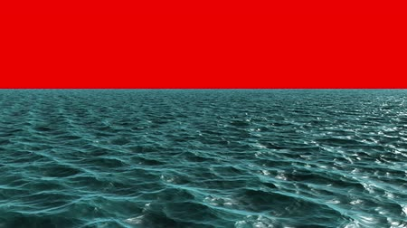 mar vermelho : Digitally generated blue ocean moving on red background