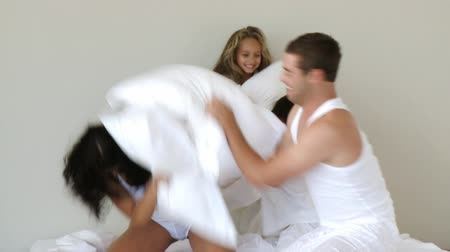 kavga : Happy family having a pillow fight Stok Video