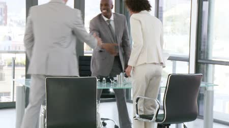 corporate affairs : Three nice businesspeople in a businessmeeting discussing about a businessplan