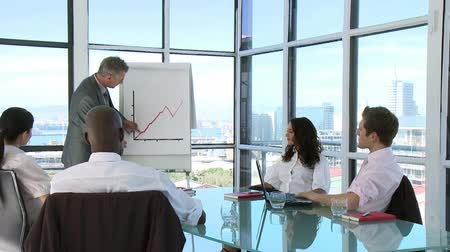 tratar : CEO in a business meeting demonstrate his requests with the help of a Whiteboard