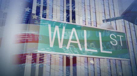 mercatino : Alta Definizione 3D Animation di Wall Street Sign Filmati Stock