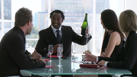 kutluyor : Two business people toasting their success Stok Video