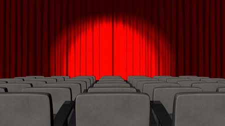 stage theater : 3d Curtains opening in a theatre