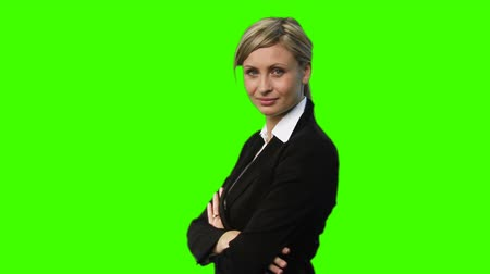 tuşları : High Definition Chroma Key footage of a Confident Businesswoman Stok Video