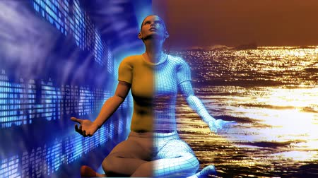 размышлять : Digital human in Buddha position with stock market and sea in the background. Concept of stress and relax in business Стоковые видеозаписи