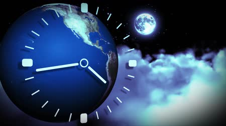 clock hands : The Earth spinning and a clock running fast against black background. Concept of passing time Stock Footage