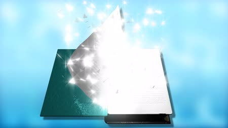 журнал : Animation of leafing through a magic book with stars in high definition Стоковые видеозаписи