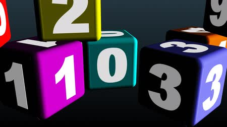 učit se : Animation of colorful cube toys with numbers. Concept of education for children