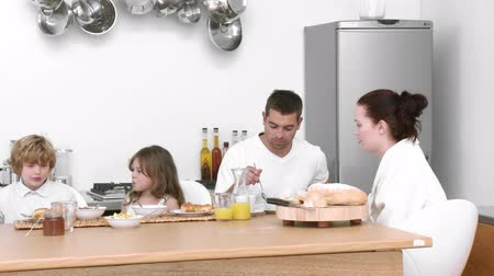 kahvaltı : Family at home together eating breakfast HD 1080p Stok Video