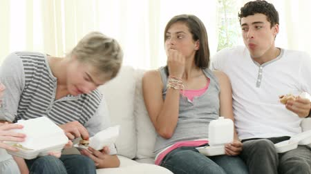 comer : Footage in high definition of teenagers eating burgers and fries on the sofa