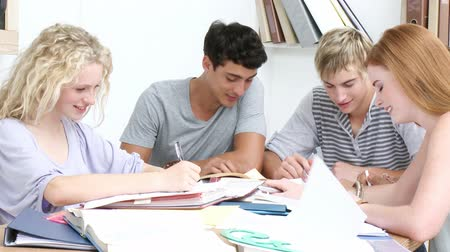 ül : Group of adolescents studying together for the exams. Footage in high definition