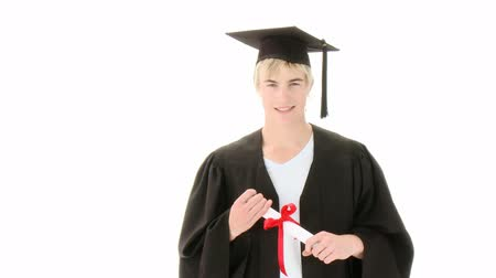 promoce : Teen Guy Celebrating Graduation. Recorded on 1920x1080p Dostupné videozáznamy