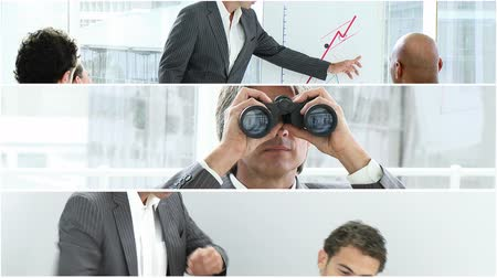 mluvení : Businessman with binoculars in HD