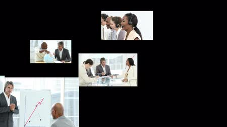 papelada : Footage panels of a business team at work in the office Stock Footage