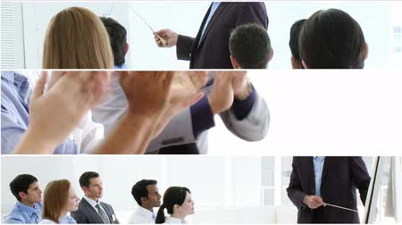 corporate : Animated footage montage of Businesss people giving presentations Stock Footage
