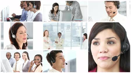 irodaház : Business call centre high definition video format Stock mozgókép