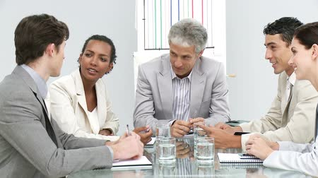 discussion meeting : Positive business group having a meeting in a company