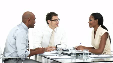 executivo : Young business team having a brainstorming against a white background