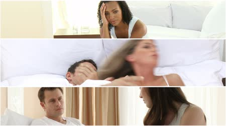 casal heterossexual : Montage of couples having argument in the bedroom