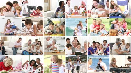 pozitivní : Montage of different families playing together