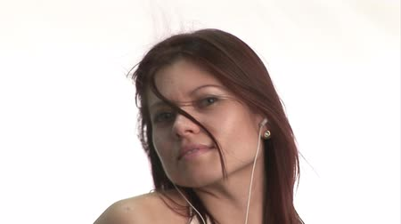serseri : Stock Video Footage of a Woman listening to music and Dancing Stok Video