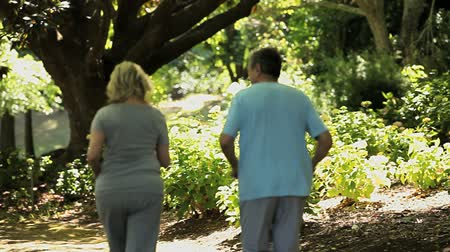 idősek : Elderly couple jogging in the forest in the Park