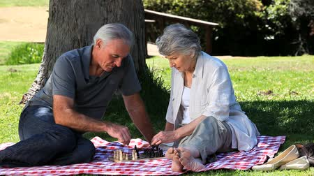 xadrez : Elderly couple playing chess on a tablecloth in the Park Vídeos