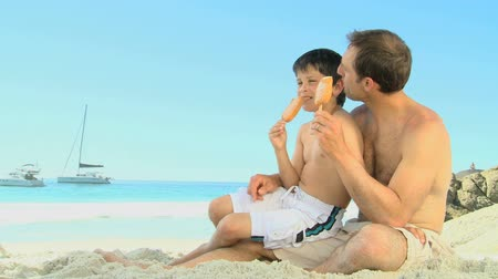 otec : Father and son eating icecream on the beach Dostupné videozáznamy