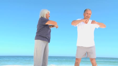 esneme : Aged couple doing flexibility exercice on the beach