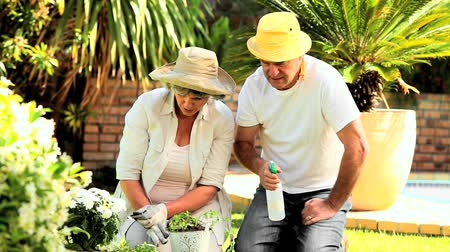 amadurecer : Mature couple spraying plants in the garden