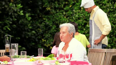 almuerzo : Abuela sentada charlando en una barbacoa familiar Archivo de Video