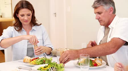 lunch : Family seasoning their meal in the dining room Stock Footage