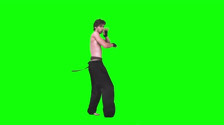 каратэ : Young man performing karate in slow motion against a green background
