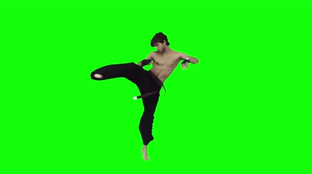 sztuki walki : Man performing karate in slow motion against a green background Wideo