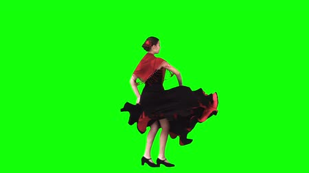танцоры : Flamenco dancer in slow motion against a green background