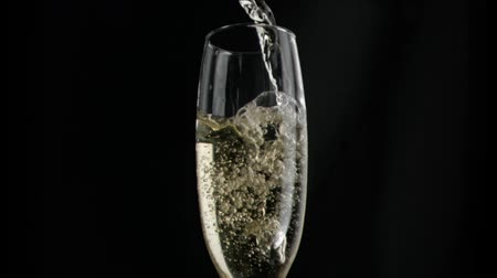 šampaňské : Champagne flowing in super slow motion in a flute against black background Dostupné videozáznamy