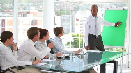 redhead suit : Business team listening to their boss at work Stock Footage