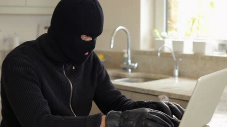 ladrão : Burglar hacking laptop in kiotchen