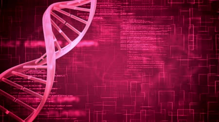 ДНК : Revolving DNA Helix on purple background with flying text