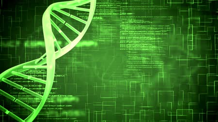 генетический : Revolving DNA Helix on green background with flying text Стоковые видеозаписи
