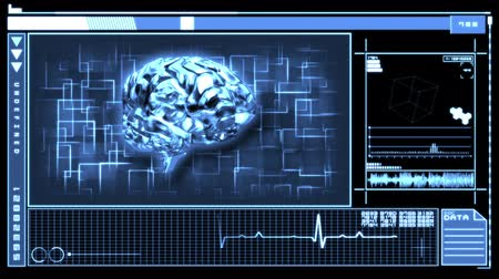 gergin : Medical digital interface featuring revolving blue brain on black and blue background Stok Video