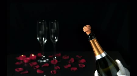 szampan : Champagne cork popping in front of two flutes in slow motion Wideo
