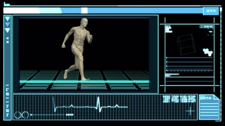 csontváz : Interface showing digital human running in blue and black