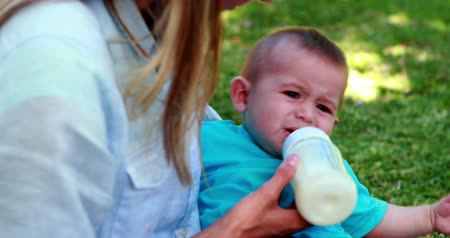 бутылки : Mother feeding her cute baby son his bottle on a sunny day Стоковые видеозаписи