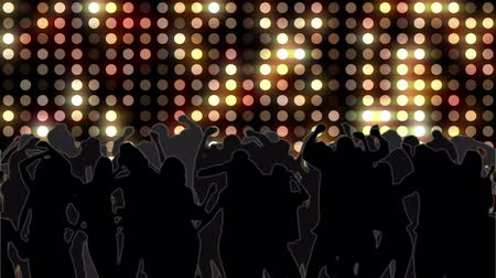 привело : Digital animation of nightclub with yellow mosaic wall of light and dancing crowd