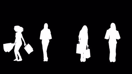 consumismo : Digital animation of silhouettes of women with her shopping on black background