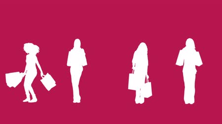 consumismo : Digital animation of silhouettes of women with her shopping on pink background