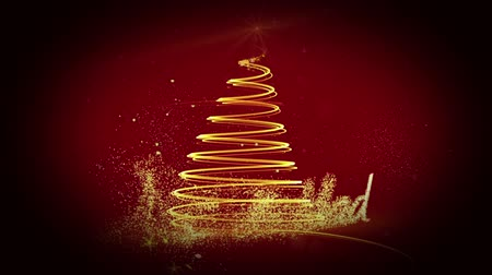 pré natal : Digital animation of Golden light forming christmas tree design with greeting